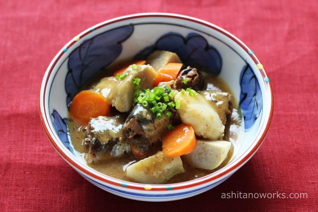 いわし味噌煮缶詰で作る「いわしと里芋の味噌煮」